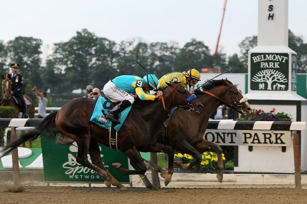ELMONT, NY - JUNE 09:  Union Rags ridden by John Velazquez narrowly beats Paynter ridden by Mike Smith during the 144th running of the Belmont Stakes at Belmont Park on June 9, 2012 in Elmont, New York.  (Photo by Alex Trautwig/Getty Images)