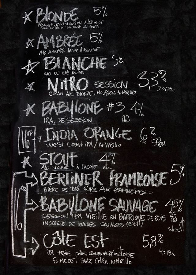 The chalkboard listing beers on offer at Cheval Blanc.