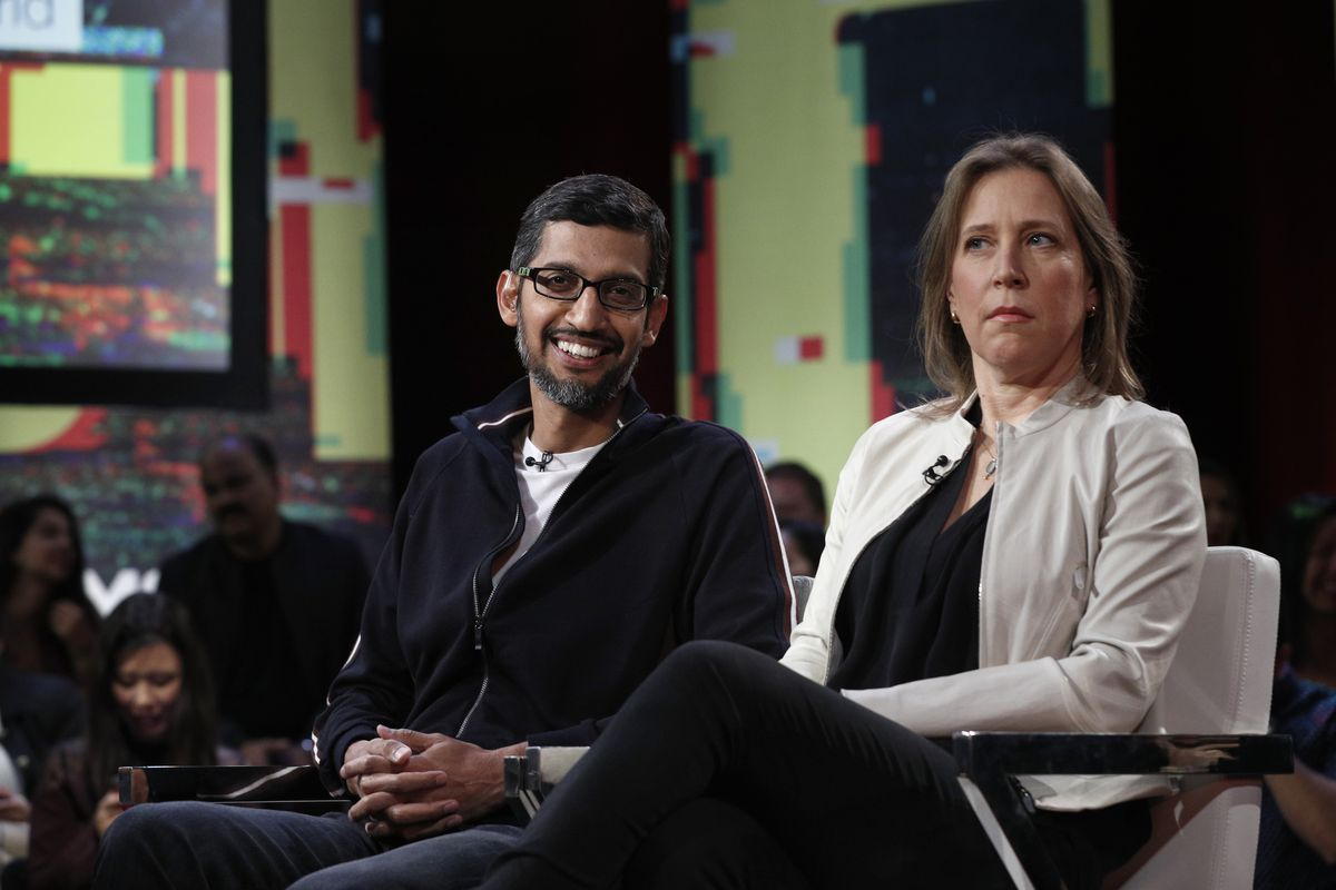 Google CEO Sundar Pichai, left, and YouTube CEO Susan Wojcicki participate in an MSNBC/Recode Town Hall event at the Yerba Buena Center for the Arts on January 19, 2018 in San Francisco.
