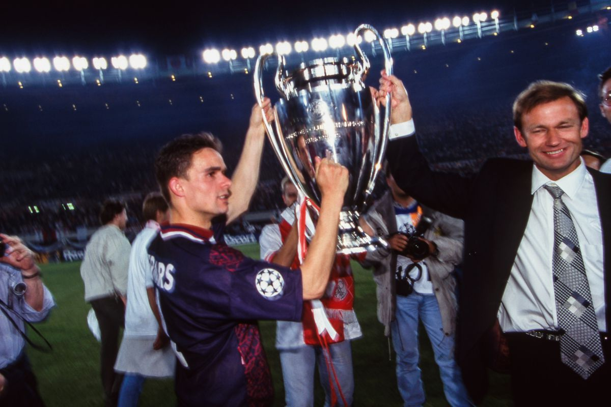 Marc OVERMARS of Ajax celebrate the victory with the trophy during the Champions League Final match between Ajax Amsterdam and Milan AC at Ernst-Happel-Stadion, Vienna, Austria on 24th May 1995.