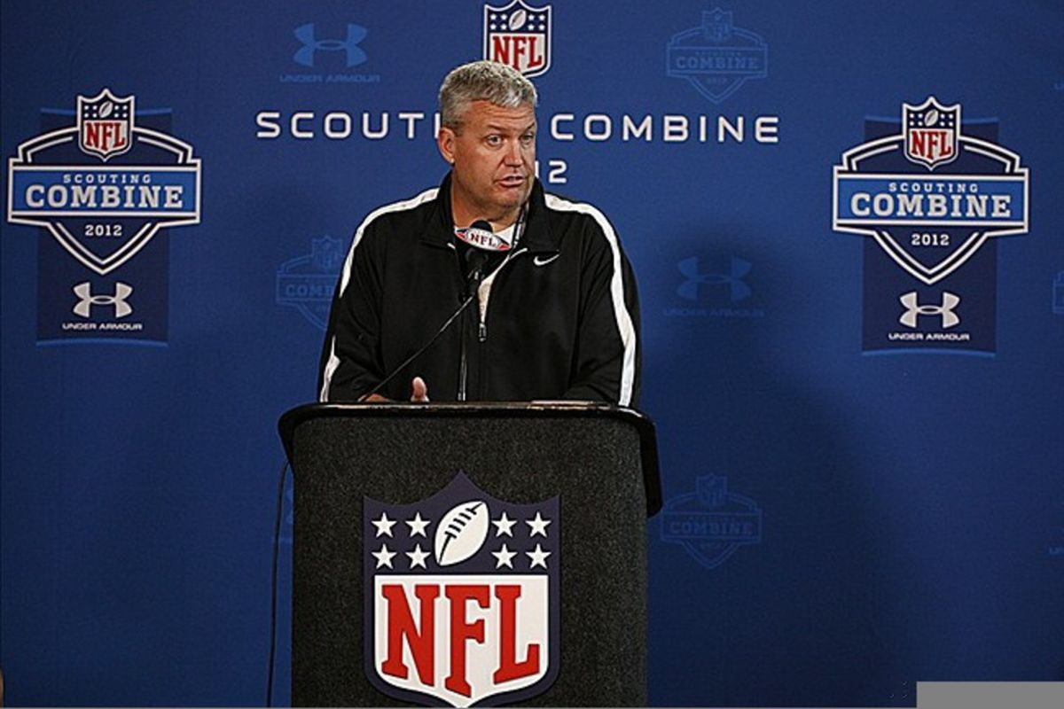 Feb 23, 2012; Indianapolis, IN, USA; New York Jets coach Rex Ryan speaks at a press conference during the NFL Combine at Lucas Oil Stadium. Mandatory Credit: Brian Spurlock-US PRESSWIRE