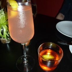 A French 75 (made with Vodka) and a Sazerac.  Where's the booze?