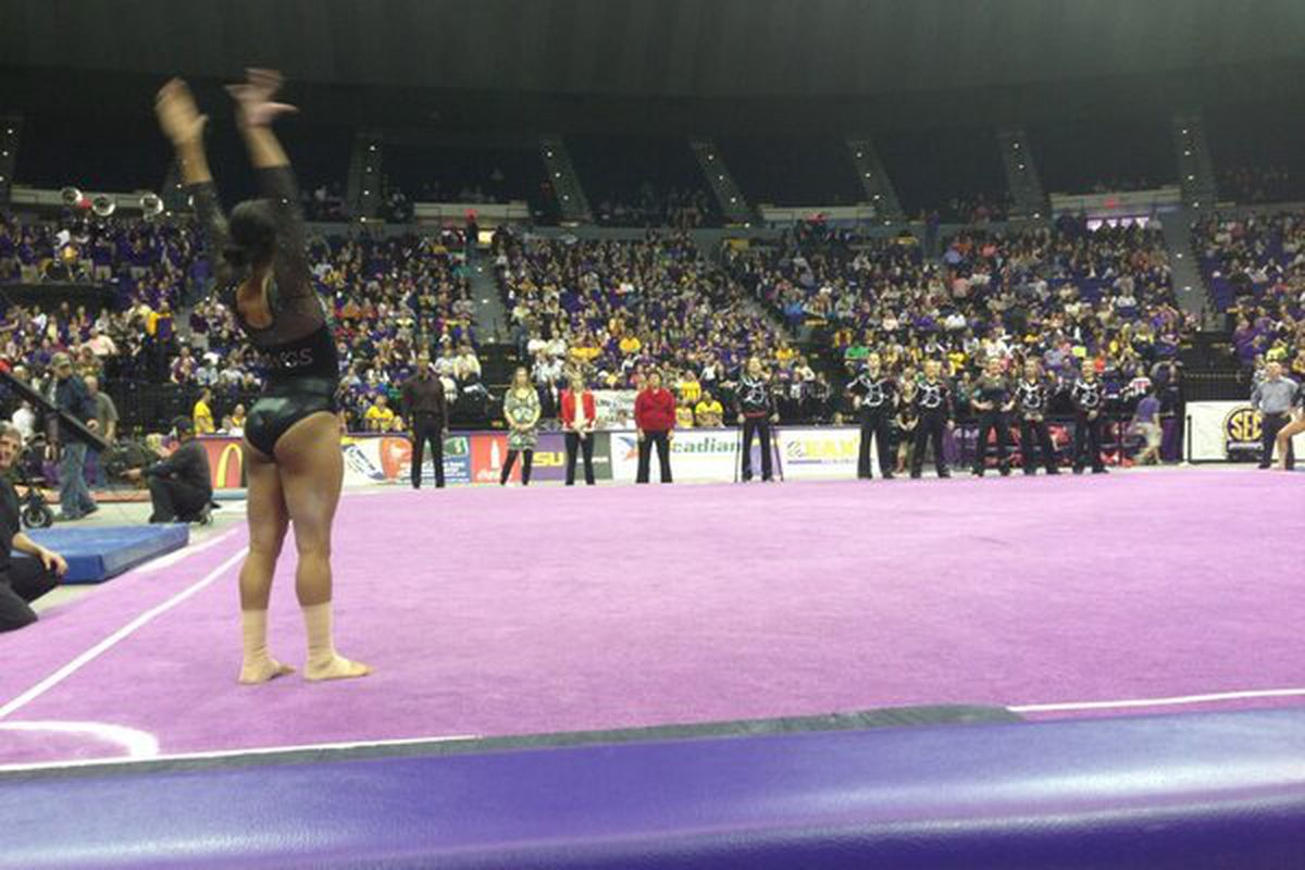 Gym Dog Kaylan Earls prepares for her floor exercise at the Pete Maravich Assembly Center in Baton Rouge, LA