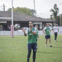 Will Hopoate during practice with the Parramatta Eels. Hopoate recently returned from a mission for The Church of Jesus Christ of Latter-day Saints and continues to play rugby.