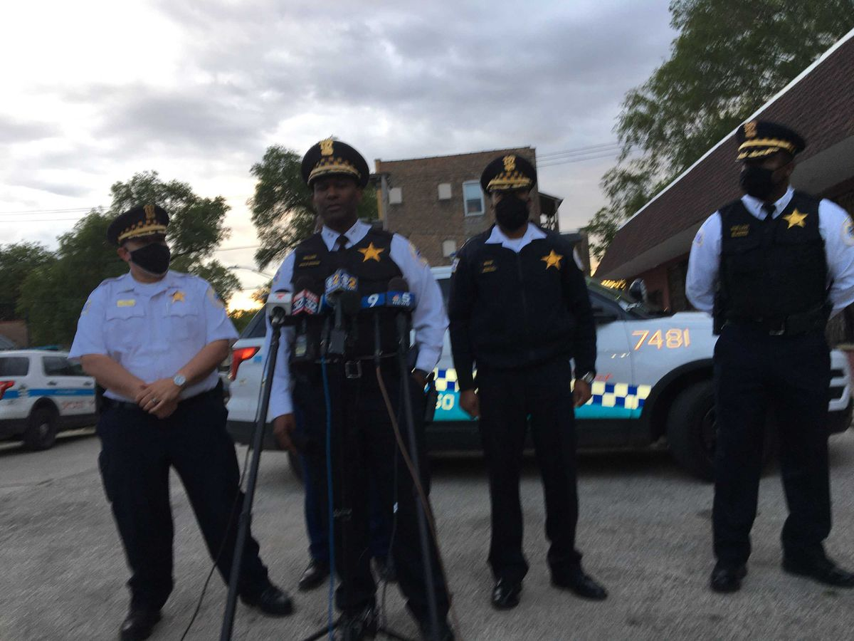 CPD Chief of Operations Fred Waller talks tor reporters Friday about a police-involved shooting in Englewood.