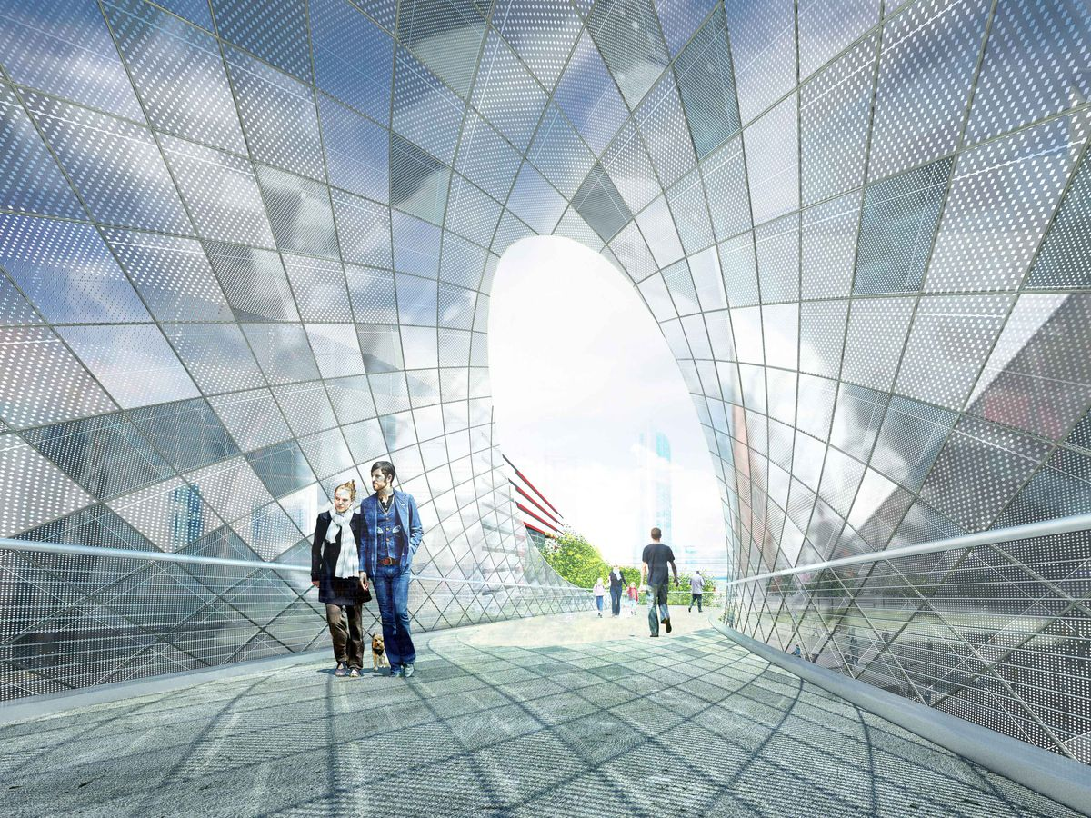 A rendering shows a view through the reflective tunnel, with diamond aluminum panels wrapping around.