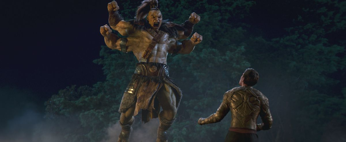 Goro jumps into the air and screams in Mortal Kombat 2021