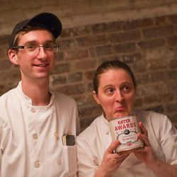 Chef April Bloomfield with her Comeback of the Year award for The John Dory at the Ace Hotel in New York City.