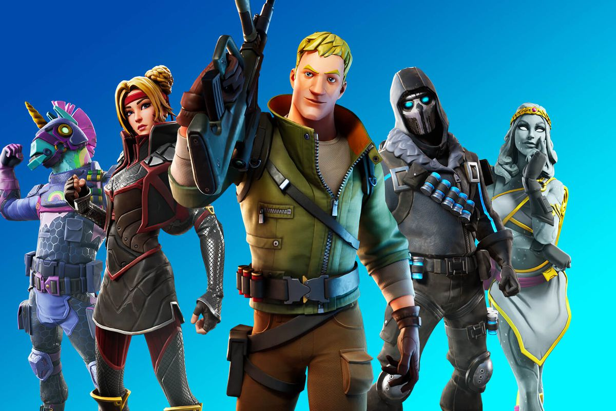 Fortnite character stand facing the screen against a blue background