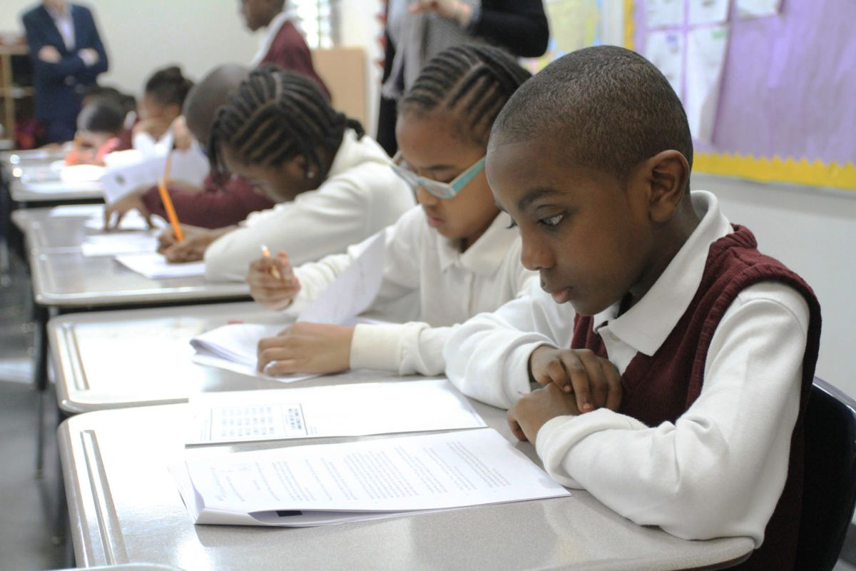 A fourth-grade student does test-prep in his English class at Brownsville Ascend Lower Charter School in Brooklyn.