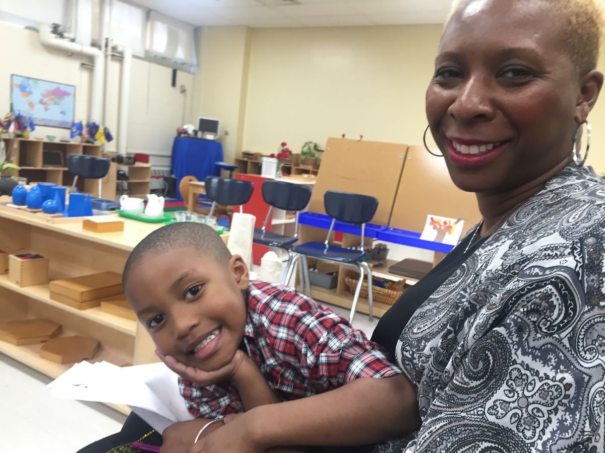 """Teacher Yolanda King enrolled son Carlton, 4, in a Detroit public schools when the district started offering Montessori instruction.""""[It shows they're] looking at different ways to educate, to kind of give something back instead of taking something away,"""" she said."""