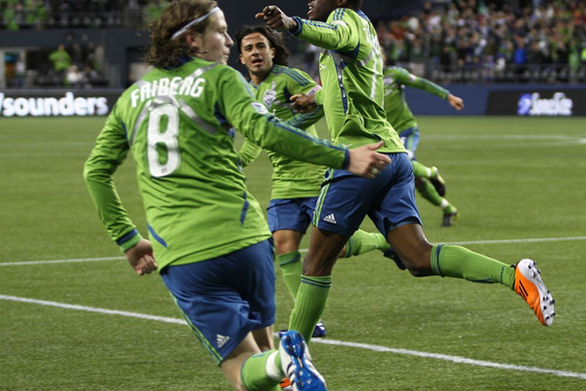 Steve Zakuani, Erik Friberg and Mauro Rosales have all seen significant minutes in the Seattle Sounders midfield this season. (Photo by Otto Greule Jr/Getty Images)
