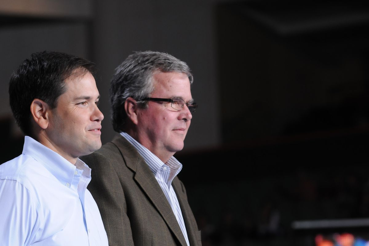 Marco Rubio and Jeb Bush, in 2012.