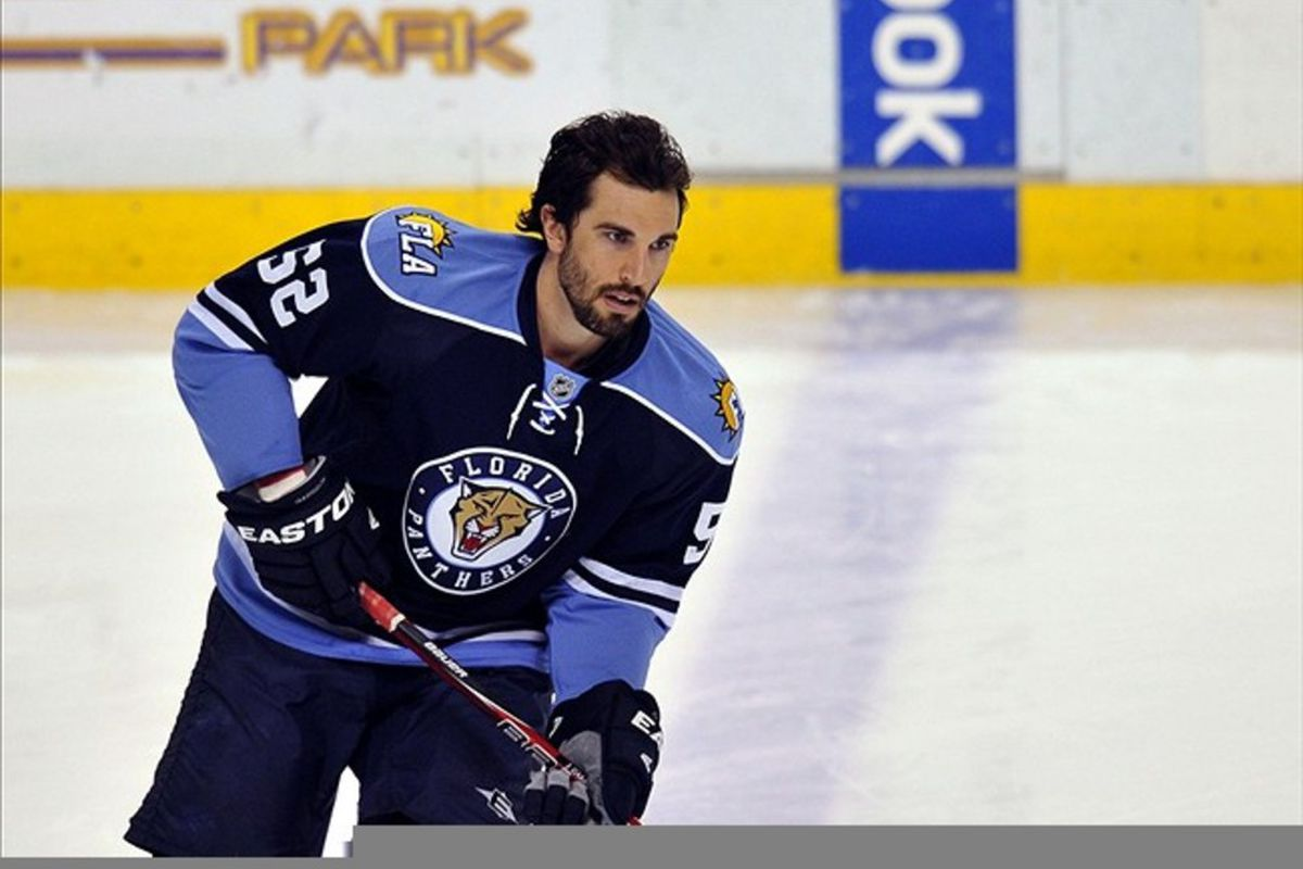 Feb. 26, 2012: Sunrise, FL, USA; Florida Panthers defenseman Jason Garrison (52) warms up before a game against the Montreal Canadiens at the BankAtlantic Center. Mandatory Credit: Steve Mitchell-US PRESSWIRE