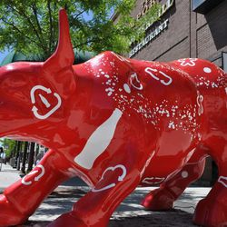 """Eight fiberglass bulls, known as the """"Aggie Stampede,"""" line the downtown streets of Logan."""