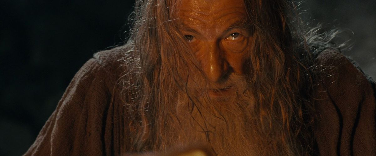 Gandalf stares down the balrog in lord of the rings: fellowship of the ring