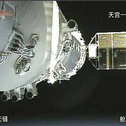 China's Shenzhou-8 spacecraft is docked with the orbiting Tiangong-1 space station.   CCTV via AP Video