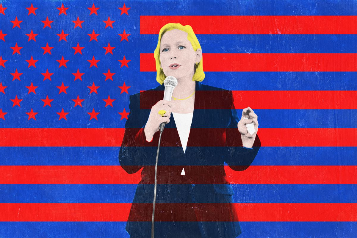 Kirsten Gillibrand talking into a microphone