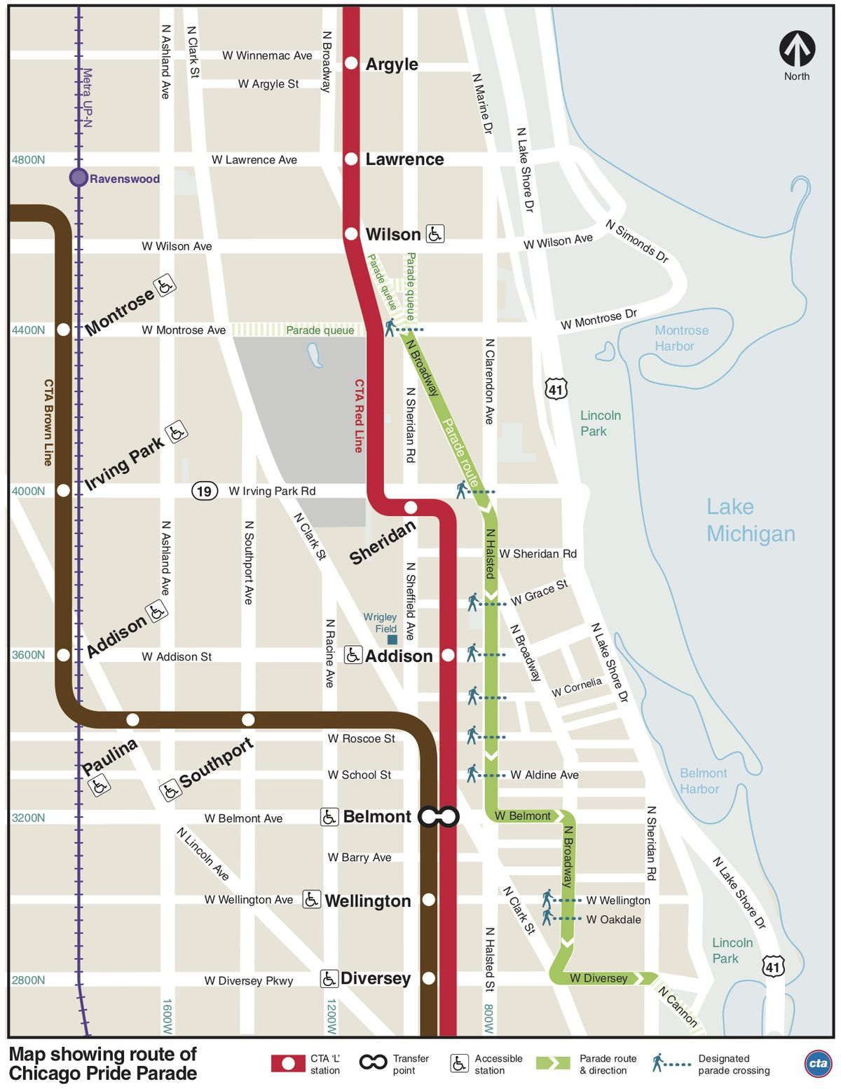 Chicago Subway Map With Streets.Pride Parade 2019 Chicago Start Time Route Street Closures