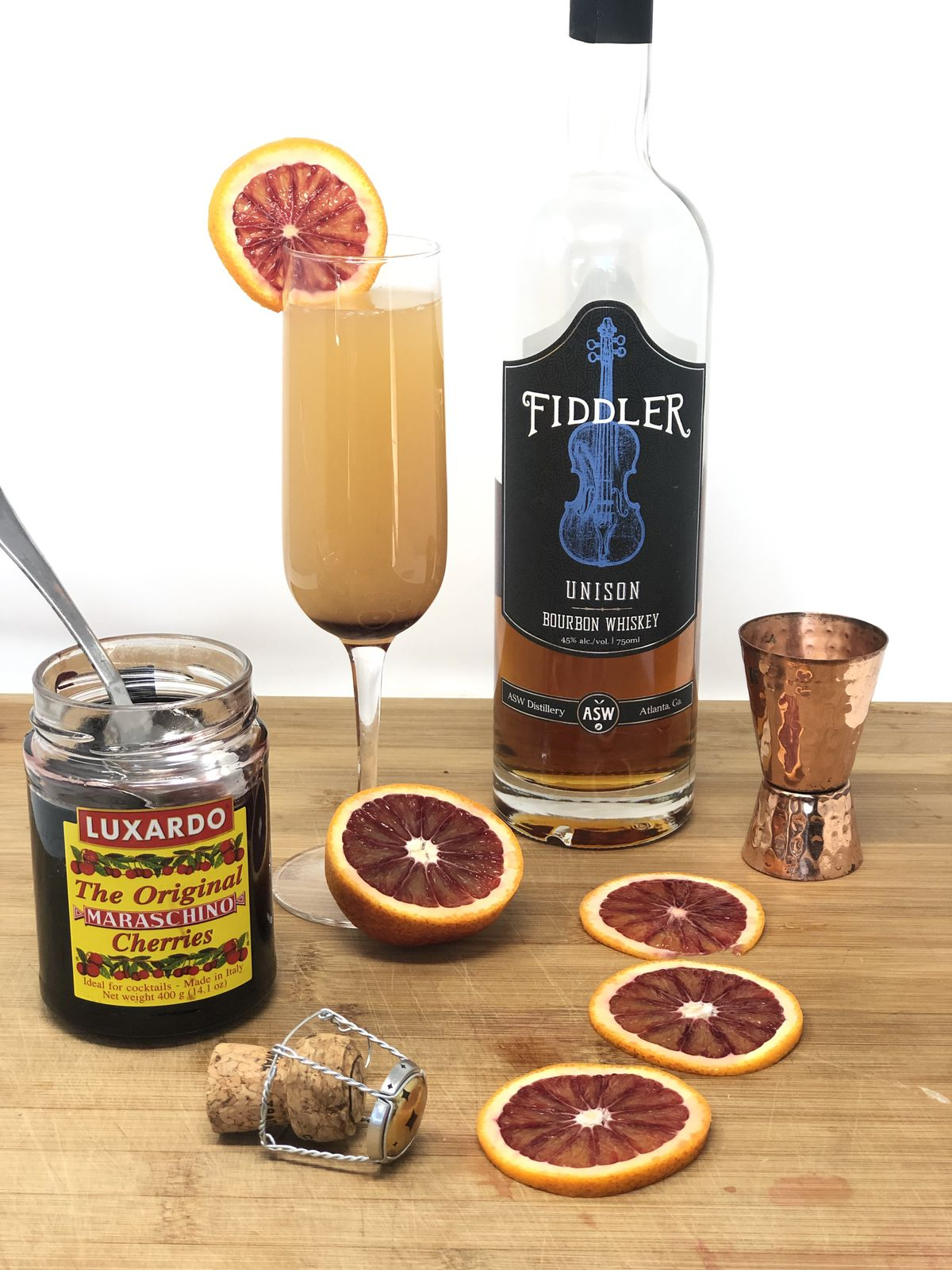 Old Fashioned mimosa using ASW Distillery's Fiddler bourbon at Buttermilk Kitchen