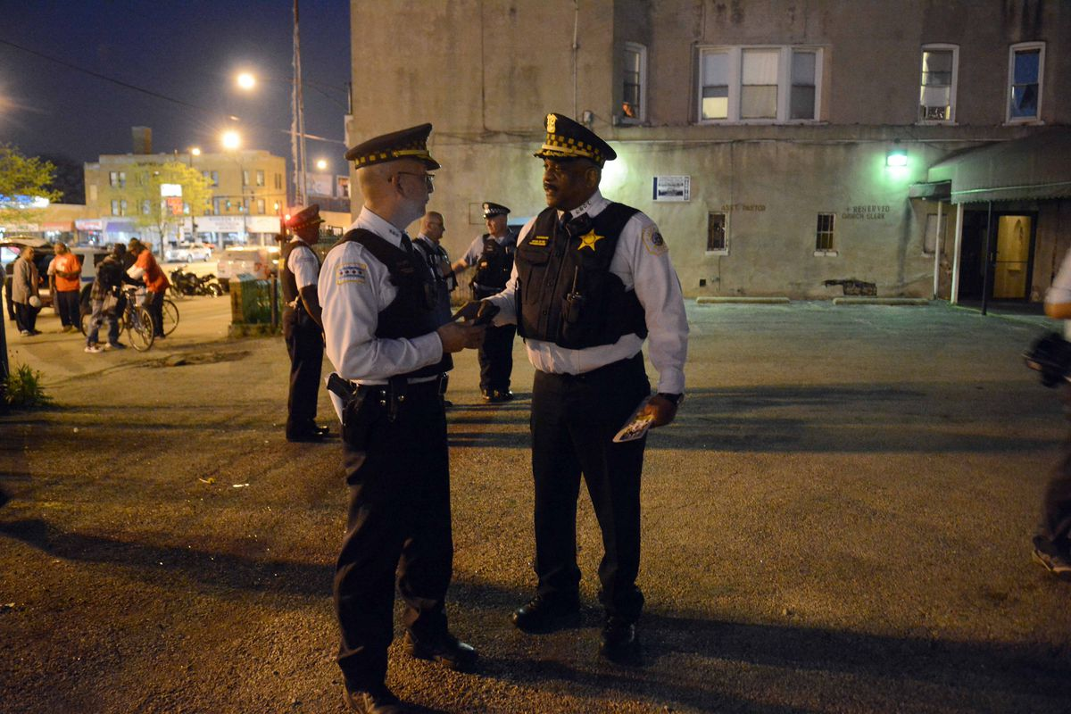 Supt. Eddie Johnson and First Deputy John Escalante wore body cameras while on patrol in the Austin neighborhood on Friday night. | Brian Jackson/For the Sun-Times
