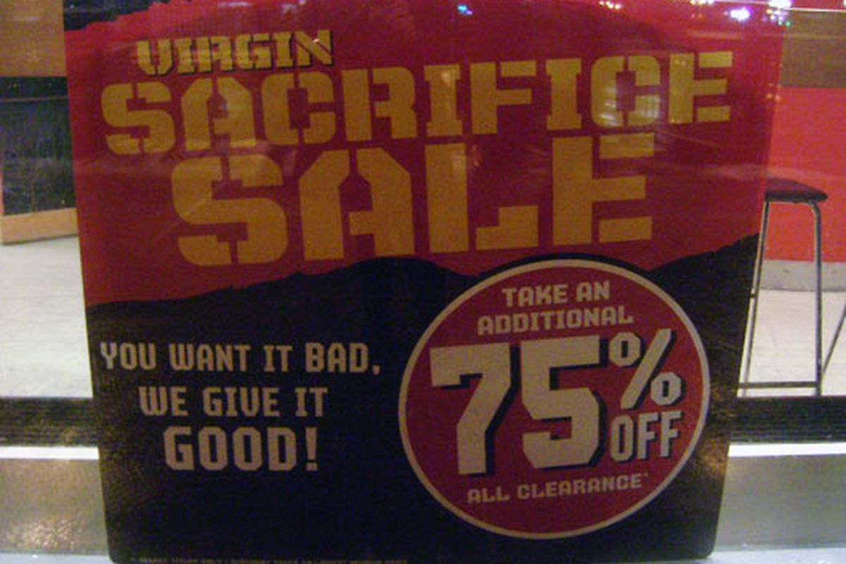 Signage from a much better Virgin sale back in January
