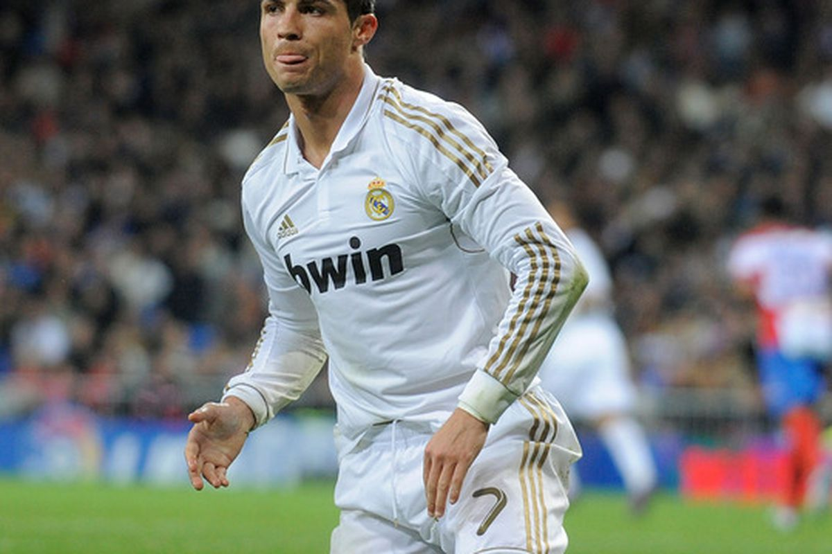MADRID, SPAIN - JANUARY 07:  Cristiano Ronaldo of Real Madrid reacts during the La Liga match between Real Madrid and Granada at Estadio Santiago Bernabeu on January 7, 2012 in Madrid, Spain.  (Photo by Denis Doyle/Getty Images)