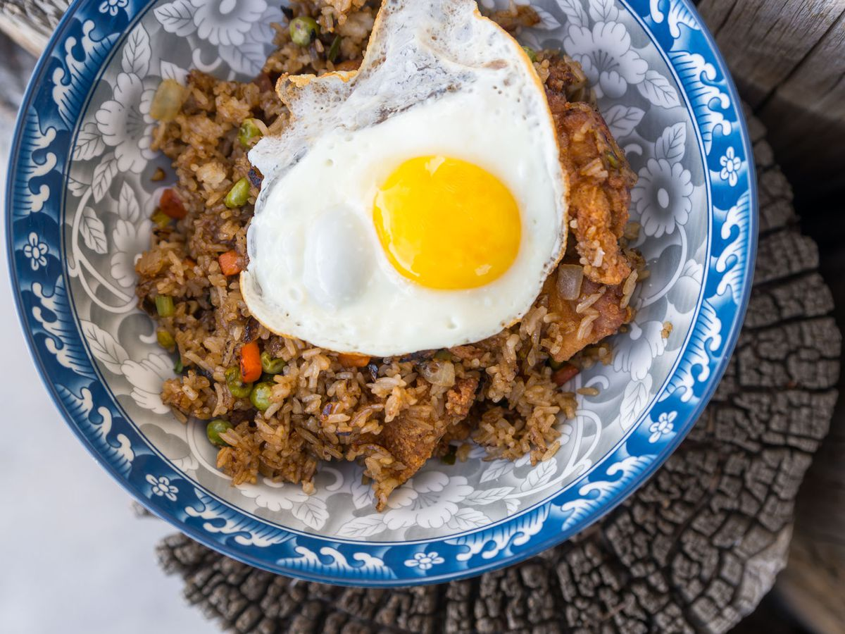Fried chicken fried rice at Starboard Tack