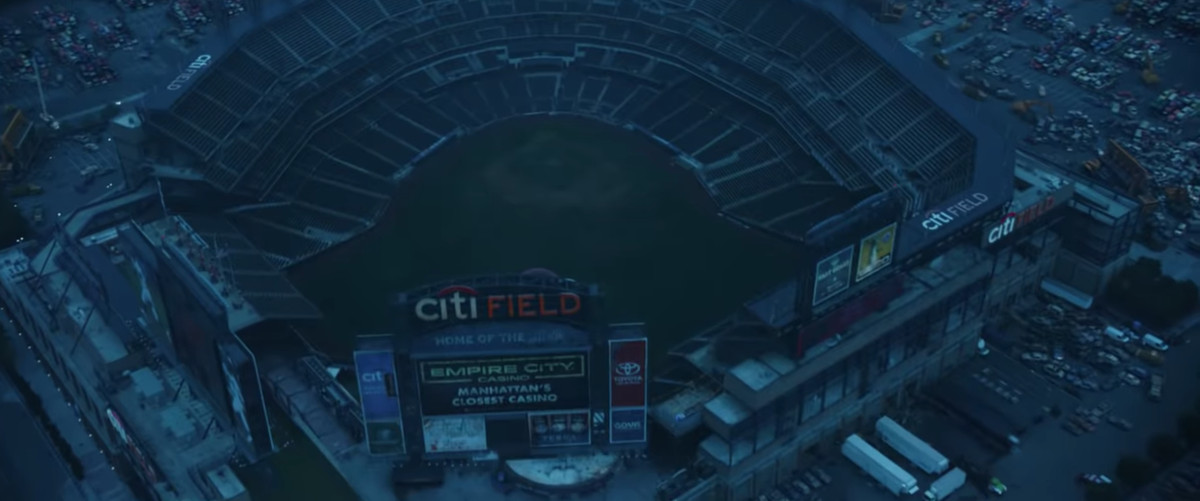 An aerial image of CitiField with no fans inside