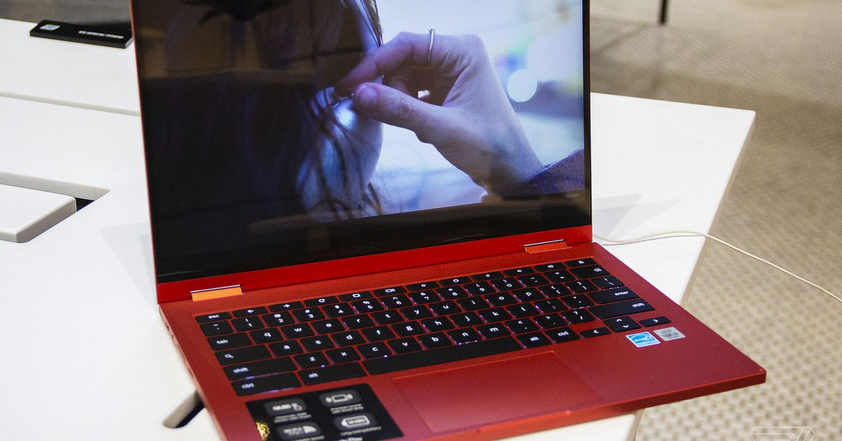 photo of Samsung's shiny red Galaxy Chromebook 2 is now available at Best Buy image