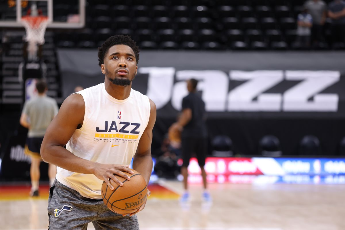 Donovan Mitchell of the Utah Jazz warms up before the game against the Portland Trail Blazers on May 12, 2021 at vivint.SmartHome Arena in Salt Lake City, Utah.
