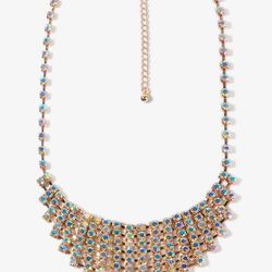 """<b>Forever21</b> Rhinestone Link Bib Necklace, <a href=""""http://www.forever21.com/Product/Product.aspx?BR=f21&Category=acc_necklace&ProductID=1027705156&VariantID="""">$14.80</a>"""