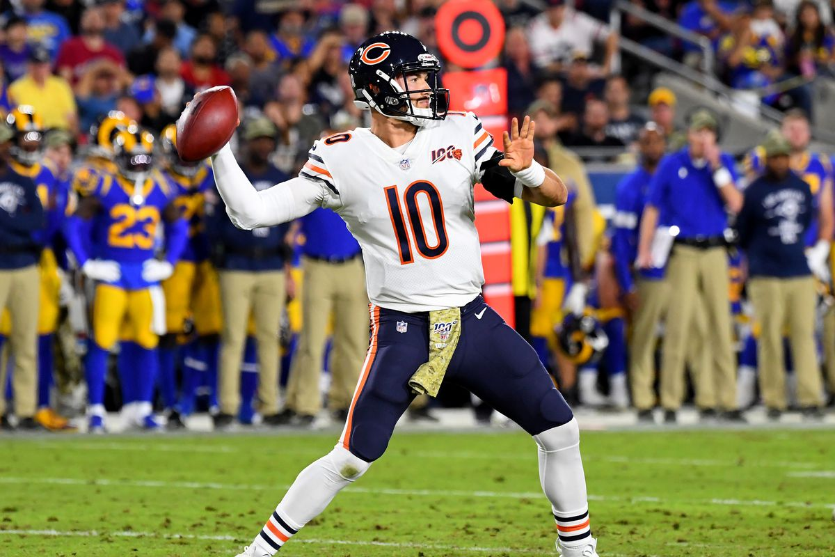 Mitch Trubisky throws in the second quarter Sunday.