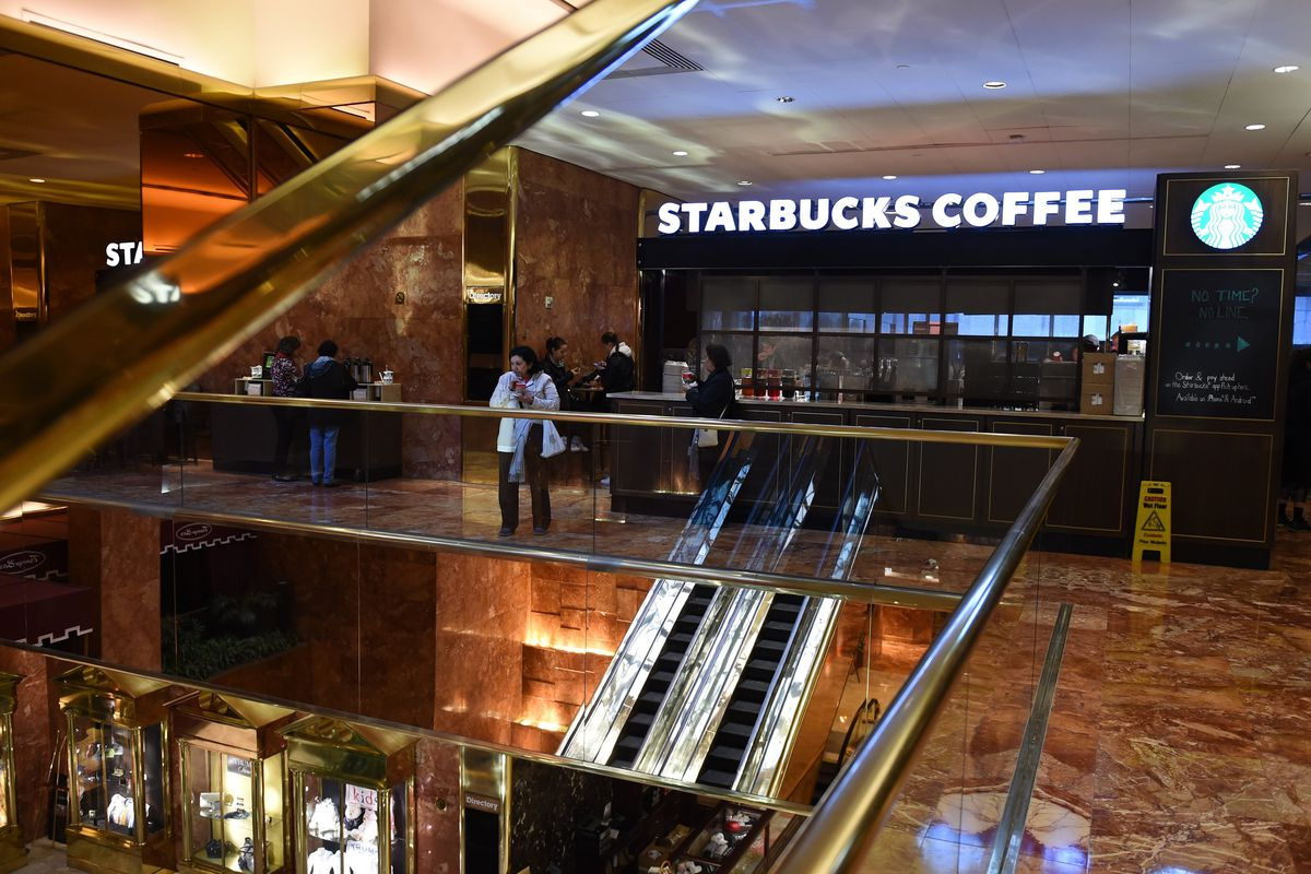 Image result for photos starbucks on trump properties