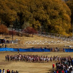 The 5A boys state cross country championships are held at Soldier Hollow in Midway on Thursday, Oct. 22, 2020.