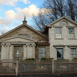 """This photo taken Feb. 1, 2012 shows the Decker House, one of several properties owned by Bronson Pinchot in Harford, Pa. that was restored to resemble a Greek Revival house. Pinchot, best known for his starring role on the 1980's sitcom """"Perfect Strangers,"""" is back on TV with a new show about restoring his historic Pennsylvania homes. The show, """"The Bronson Pinchot Project,"""" premiered this month on the DIY cable network."""