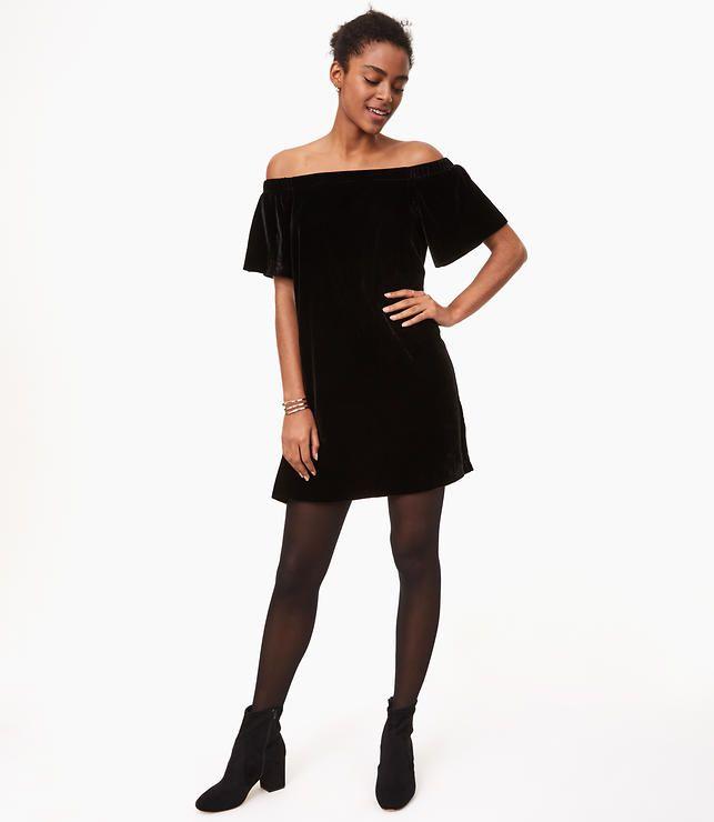 Velvet Off Shoulder Swing Dress