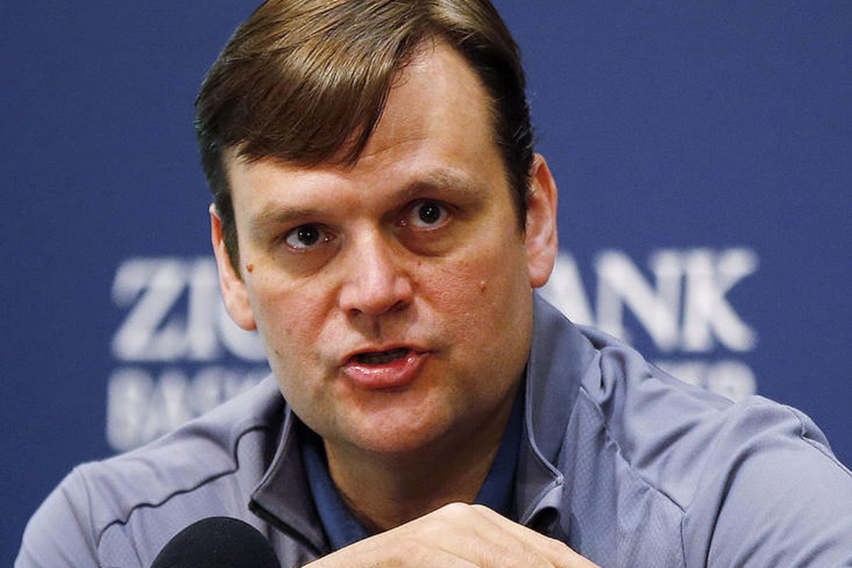 Utah Jazz general manager Dennis Lindsey talks with the media at Zions Bank Basketball Center in Salt Lake City, Thursday, April 14, 2016.