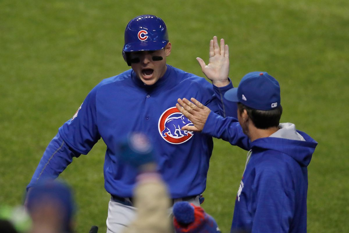 cubs series chicago indians game cleveland anthony score rizzo final offense alive comes even shamus gregory getty mlb zimbio