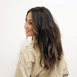 """↑ Ta-da! Yara sent photos of the result, which was """"totally worth"""" the day-long process, she says. """"I have never been able to go lighter because it normally just looks brassy on me. The problem is that most colorists don't take the time to really lift the"""