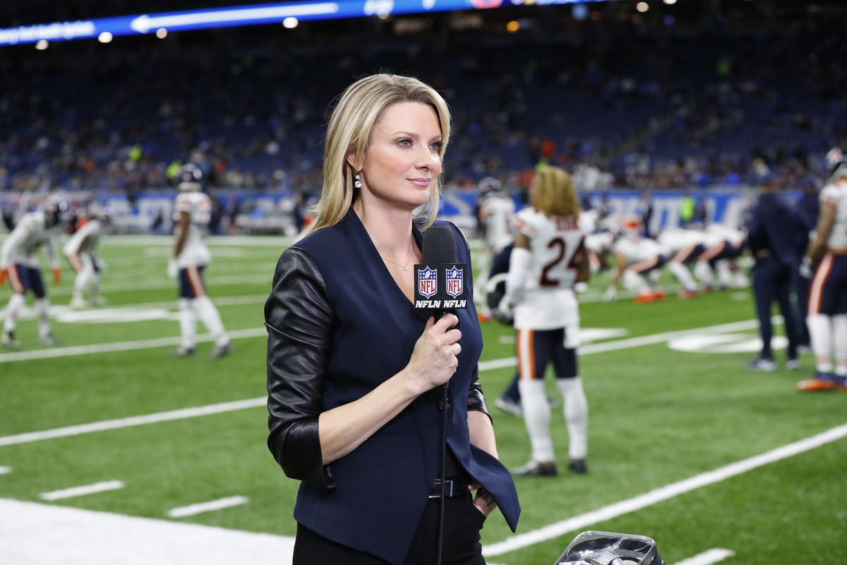 NFL Network reporter Stacey Dales reports before a Bears-Lions game last Thanksgiving.