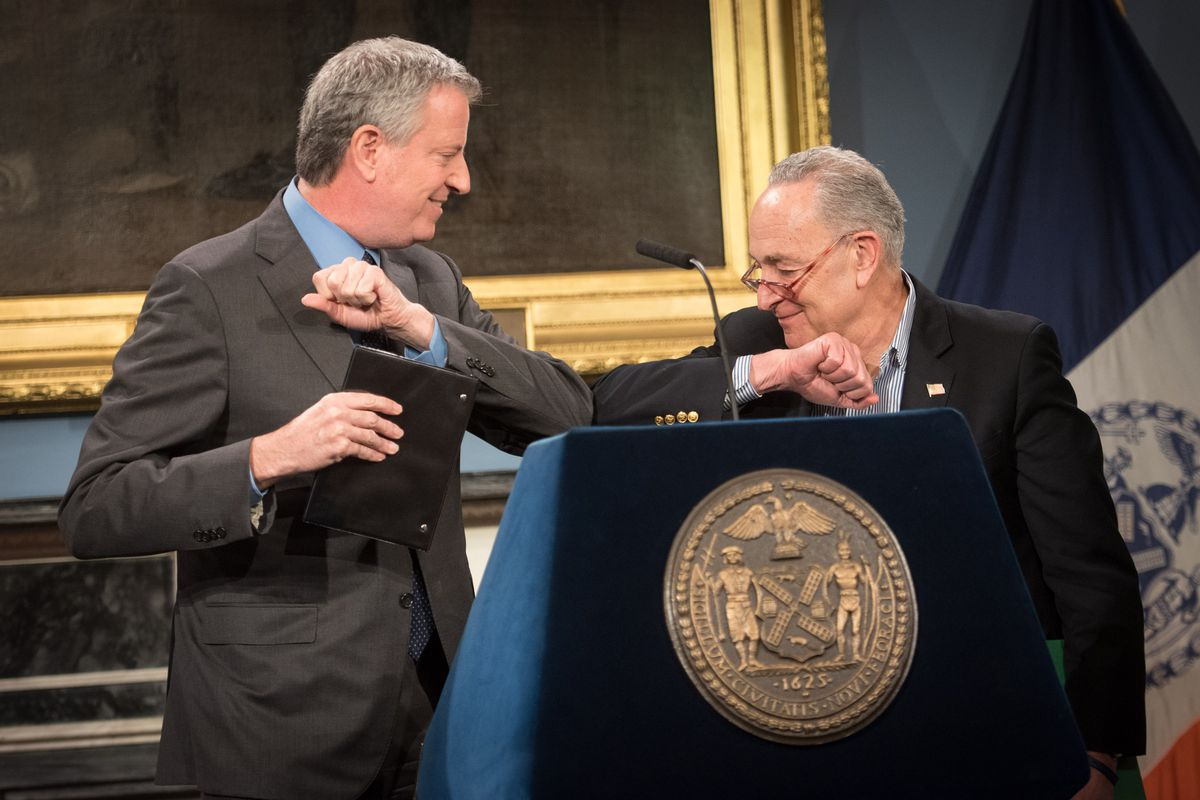 Mayor Bill de Blasio holds a press conference with Senator Chuck Schumer at the start of the COVID-19 outbreak, March 14, 2020.