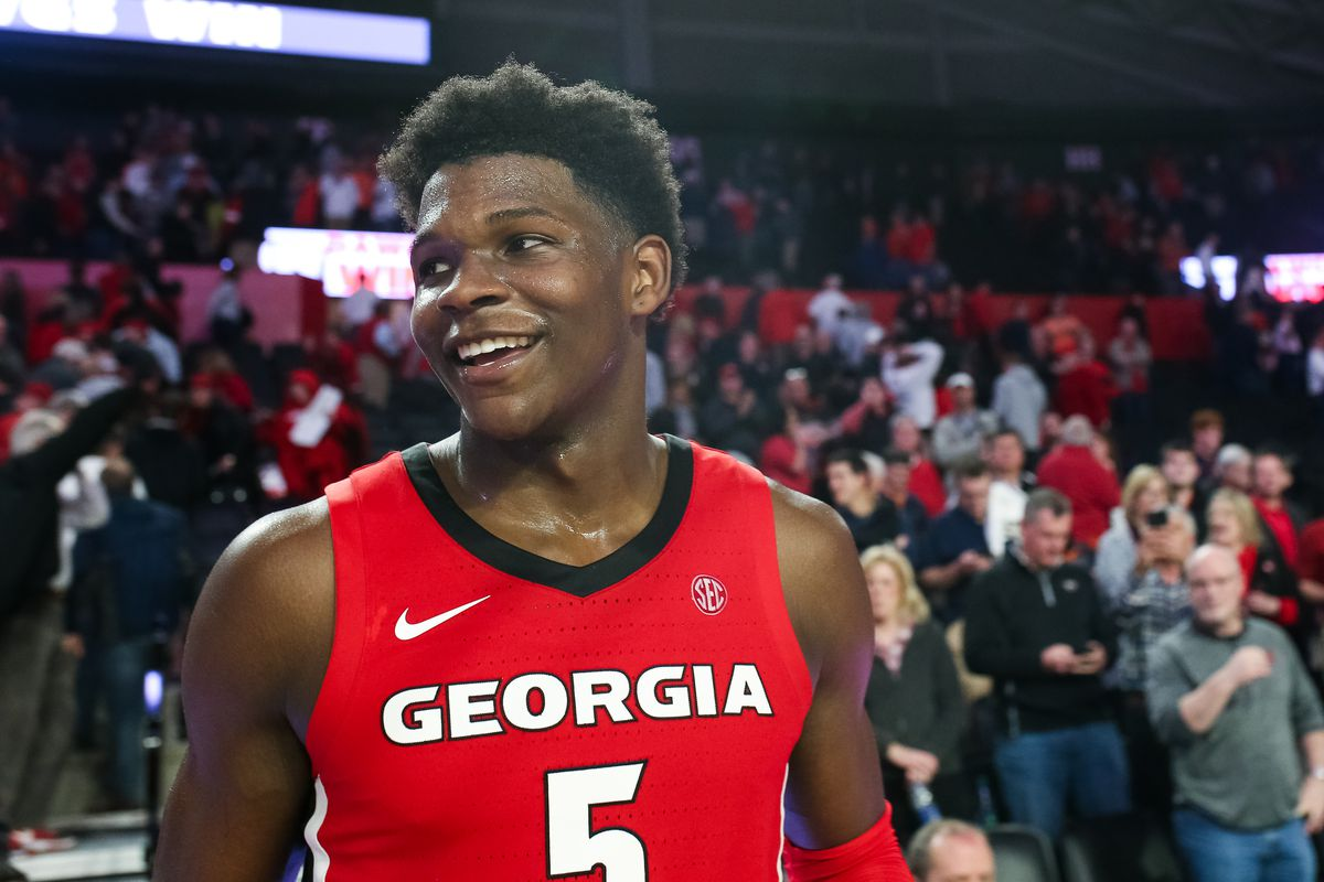 Anthony Edwards of the Georgia Bulldogs looks on during a game against the Auburn Tigers at Stegeman Coliseum on February 19, 2020 in Athens, Georgia.