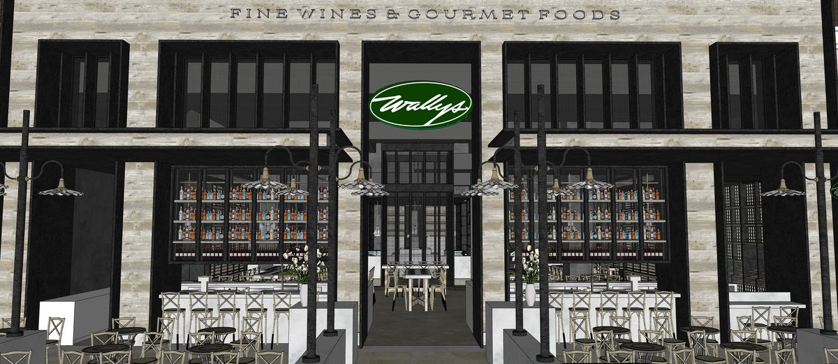 A rendering of the patio at Wally's Wine & Spirits