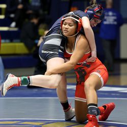 Brooklyn Pace of Copper Hills and Arleth Antonio of Granger as they wrestle in class 115 as girls compete for the 6A State Wrestling championship at West Lake High in Saratoga Springs on Monday, Feb. 15, 2021.