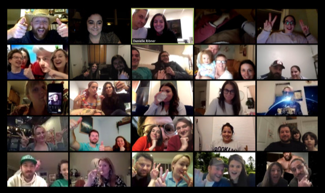 A screenshot of a Zoom meeting where participants are playing a virtual trivia game