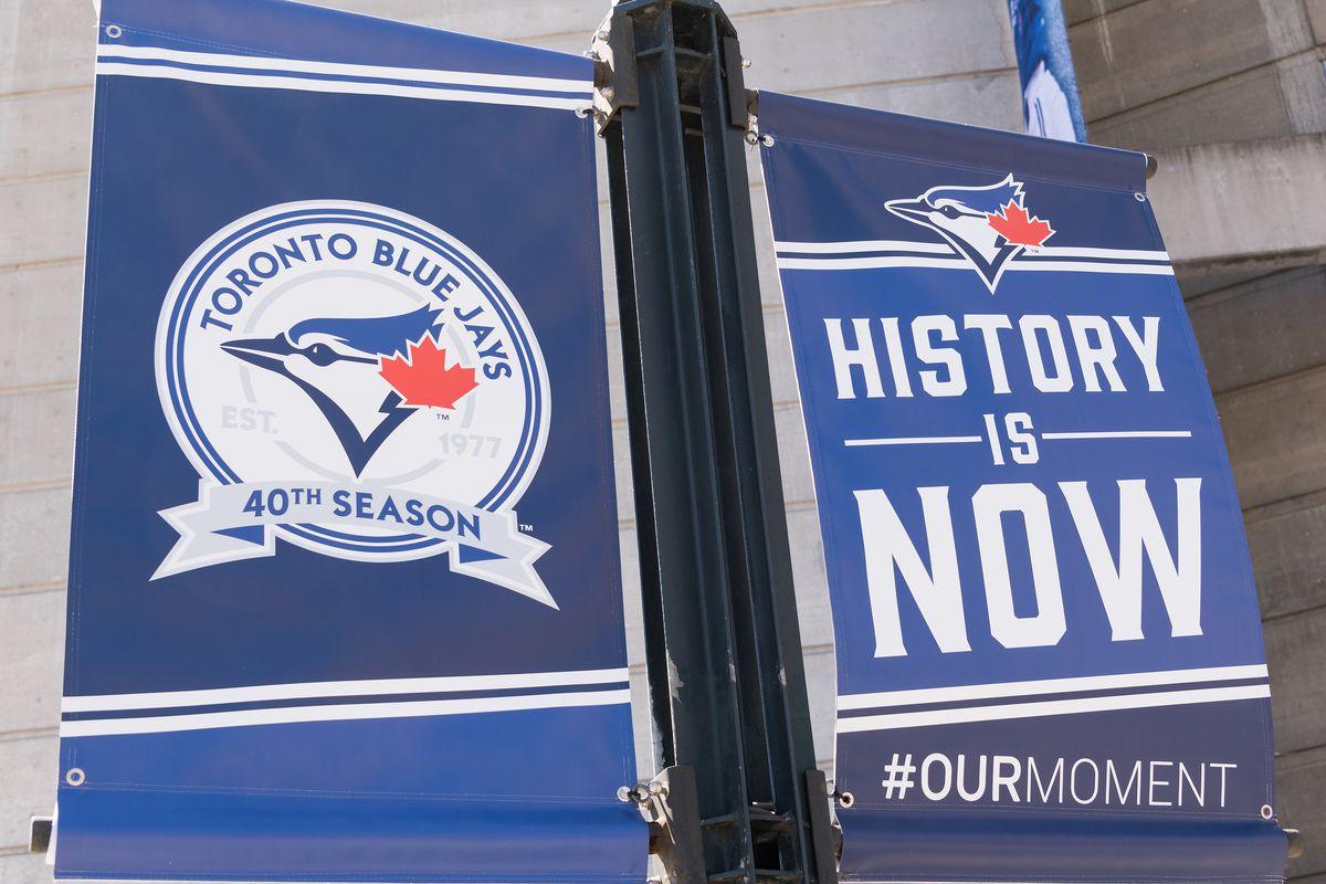 "Blue Jays banner, near Rogers Centre Center: Banner reads ""..."