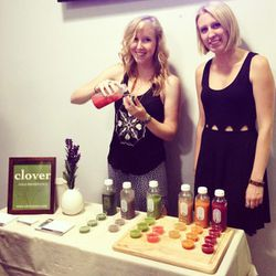"""Sweat fest success! <a href=""""http://www.cloverjuice.com/""""target=""""_blank"""">Clover Juice</a> brought us tasty juice to try after class."""