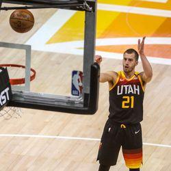Utah Jazz guard Matt Thomas (21) shoots a free throw during an NBA basketball game at Vivint Smart Home Arena in Salt Lake City on Saturday, May 1, 2021.