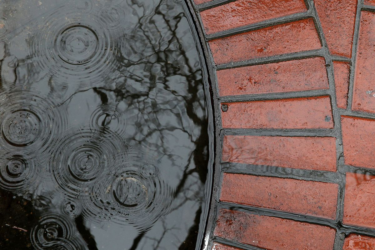 Water rings are made by raindrops in a puddle on February 6, 2014 in San Francisco, California.